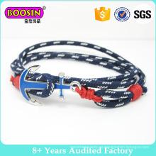 Pulsera de ancla náutica de cuerda encerada personalizada, pulsera anudada, pulsera de cuerda, pulsera de cuerda de vela náutica hecha a mano, joyería de cuerda
