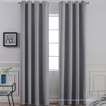 Cortinas opacas grises sólidas con ojal