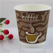 O costume imprimiu o produto comestível dos copos de papel de parede do dobro dos copos de café do papel