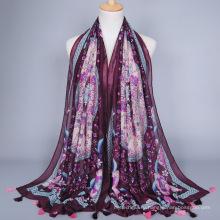 2017 мода горячие продажа мерсеризованный хлопок шаль шарф цифровая печать индивидуальный дизайн старинные белье шарф