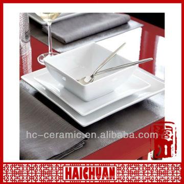 Céramique assiette carrée, saladiers blanc carré