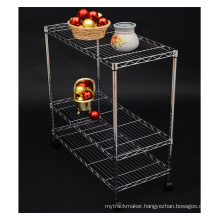 Chrome Removable Metal Home Kitchen Wire Trolley (LD753590A3CW)