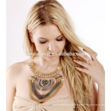 2017 Retro diamond Indian Vintage Tessal Coin Drop Necklace Capas Chunky Oro Collar de Plata Joyería de Las Mujeres