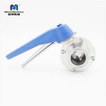 3/4-дюймовый санитарный клапан-бабочка с тремя зажимами SS304 / SS316L, конец-бабочка TC с ручками триггера SS