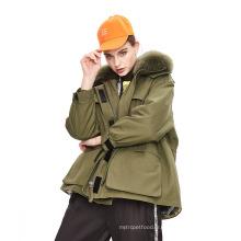 Vêtements d'hiver Veste Parka ample de couleur unie pour femmes