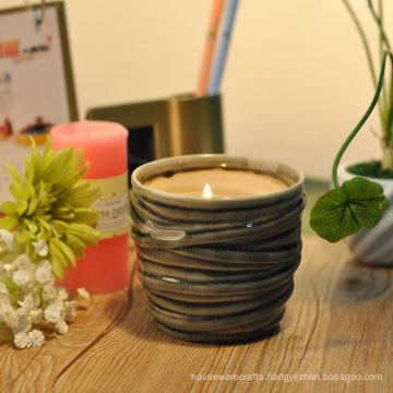 Antique Ceramic Candle Vessel