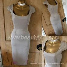 Vintage 40s 50s estilo acetinado ouro Galaxy lapiz vestido de ombro GP008