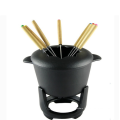 Service à fondue en fonte émaillée jaune pour fondue