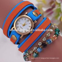 Top vente bracelet en cuir montre vogue femme