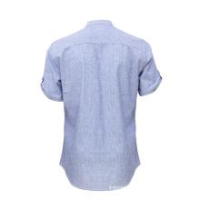 Short Sleeve Latest Washed Denim Jean Casual Shirt