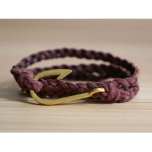 promotional custom Leather bracelets with metal hook for woman and man