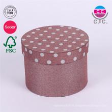 Caixa de presente de papel de armazenamento redondo de alta qualidade com tampa