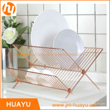 Support de plat en bois d'acier inoxydable de forme de la maison X pour les accessoires de cuisine (HY-W003)