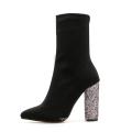 Wholesale Custom Glitter Bling Heels Boots Women Lycra Elastic Ankle Chunky Heel Boots