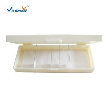 Caixa de armazenamento de plástico para lâminas de microscópio