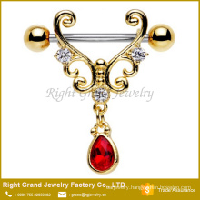 Surgical Steel Gold Plated Barbell Clear Red Drop Dangle Nipple Shield Piercing Jewelry