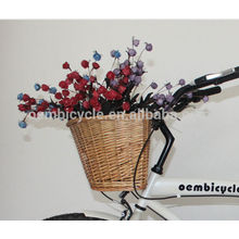 wicker knitting basket for bicycle
