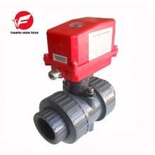 CTF-002 20NM 220V dn32 dn40 motorized pvc upvc plastic ball valve with electric actuator