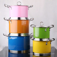 Ensemble de casseroles en acier inoxydable à surface de couleur 5 PCS