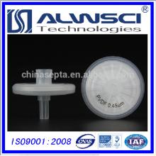 Filtro de seringa hidrófoba de PVDF de membrana natural de 25mm