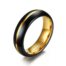 Fedi nuziali in tungsteno da donna da 6 mm in oro e nero