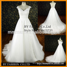 hot sale long train wedding dress beautiful v back shape cap sleeves tulle bridal gowns