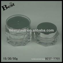 BEST-3759 hexagonal shape acrylic jar,pmma,abs,as,15/30/50ml cosmetic bottle