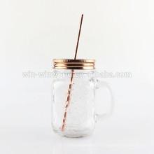 En gros Large Bouche En Verre Mason Jar Tasses Beverage fruits Tasses Boisson Tasse avec Couvercle en Acier Inoxydable et Paille