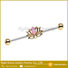 Gold Plated Surgical Steel Pink Synthetic Opal Lotus Industrial Barbell