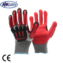 NMSAFETY TPR 5 cut level work glove anti impact black nitrile gloves