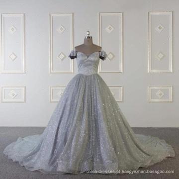 Baiyi Custom made cinza vestido de noite de luxo muçulmano 2018 WT508