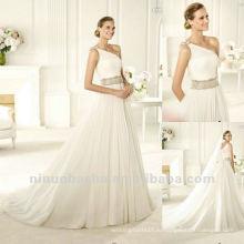 Блестящий Одно Плечо Развертки Поезд Плиссированные Свадебное Платье Пояс
