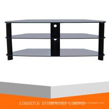 Алюминиевый овальный закаленный стеклянный стол для телевизора для большого телевизора