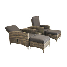 Function Rattan Double Chair Set With Footrest