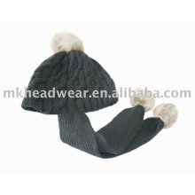 Cable knitted Hoody Scarf with pompom