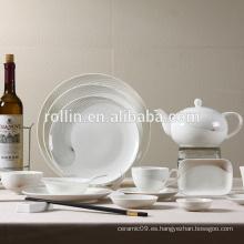 Placa de porcelana blanca de hotel y restaurante, Platos de vajilla seguros para microondas, Restaurante de diseño de impresión Vajilla
