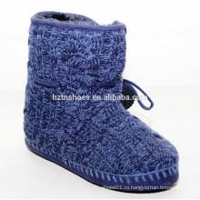 Нечеткие теплые ботинки снега для зимнего синего цвета