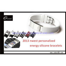 White Color Destroy Viruses And Bacteria Energy Silicone Bracelet To Reduces Inflammation