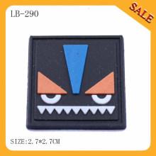 LB290 logotipo quadrado em relevo borracha patch de couro / pvc para a bagagem