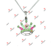 Alloy Color Crystal Crown Charms Jewelry Necklace (LAJ60128)