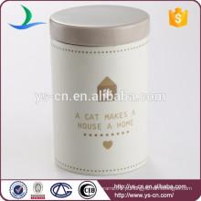 Frasco moderno da vasilha cerâmica do decalque para o gato