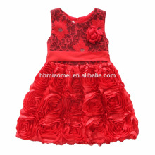 Children Embroidery Knee Length Tulle 3 Year Old Girl Dress Girl Fancy Frocks