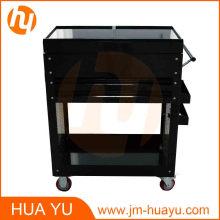 Deux tiroirs acier coulissantes panneaux supérieure outil coffret Service Cart dans le Garage et l'usine noir