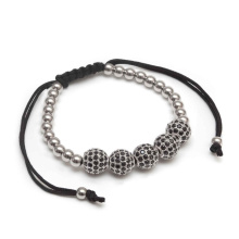 Stainless Steel Rhodium CZ Bead Bracelet