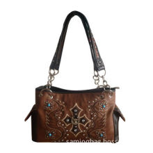 lady handbag with nice embroidery pattern ,camel color,low price,PU material,certification factory,