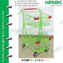 Зеленый двойной слой стальной супермаркет торговой тележки