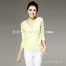 14GG 100% Merino Wool Women Cardigan Sweater OEM