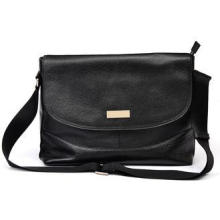 Big Black Mens Leather Bag / Mens Messenger Bags with Laser