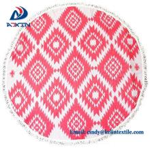 Toalla de playa redonda de la impresión del personalizado del terciopelo 100% de algodón al por mayor de China