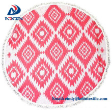 China wholesale 100% cotton velour custom print round beach towel
